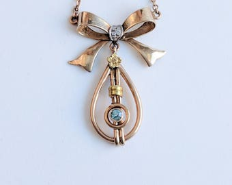 1940s Retro Gold Bow Necklace w/ Blue Zircon