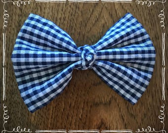 Blue and White Plaid Fabric Hair Bow