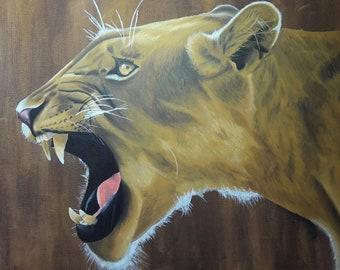 Lion Roar Print, Lion Painting, Lioness