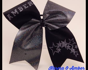 Black & Silver PERSONALIZED Cheer Bow CHOOSE A NAME