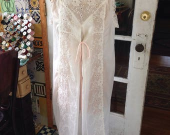50's off white sheer cotton nightgown
