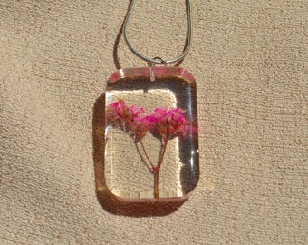 Real Preserved Flower Necklace, Pink Flowers, Resin Necklace