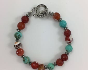 Fire Agate & Turquoise Bead Bracelet by Pottery Lovely