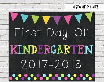 First Day of Kindergarten Sign, First Day Of School, Photo Prop, Chalkboard Sign, Kindergarten Sign,  Back to School, 1st Day Of School