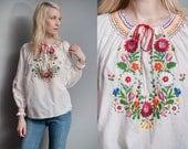 Vintage 1970's   Floral   Hand Embroidered   Peasant   Folk   Blouse   M