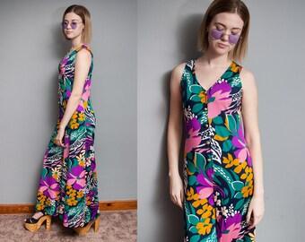 Vintage 1970's I Colorful I Large Floral I Hippie I Psychedelic I Wide Leg I Bell Bottom I Jumpsuit I S
