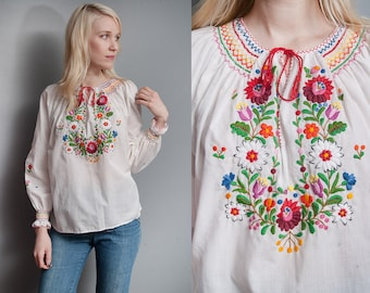 Vintage 1970's | Floral | Hand Embroidered | Peasant | Folk | Blouse | M