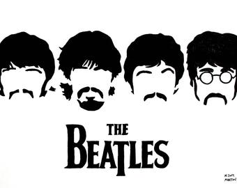 The Beatles hand-drawn drawing / painting