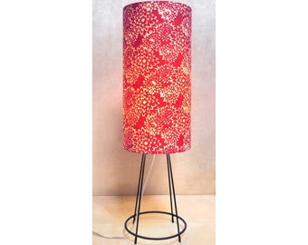 Modern tall table lamp, decorative red mums shade made in Los Angeles