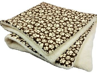 XLarge Pawprint Pet Blanket with brown paw prints, Sherpa Dog Blanket, sherpa cat blanket, cozy blanket