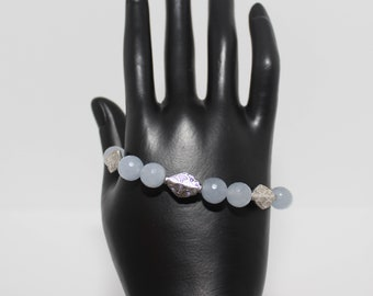 Genuine Faceted Blue Chalcedony Bracelet and Earrings