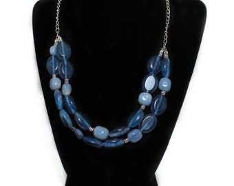Genuine Blue Chalcedony Necklace and Earrings