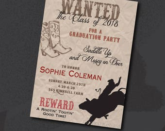 Western Graduation Party Invitation printable/Digital File/cowboy, cowgirl, class of 2018, graduation senior party/Wording can be changed