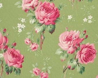 Tanya Whelan Fabric - Barefoot Roses, Legacy Collection, Stemmed Flower in Green - 1 FAT QUARTER