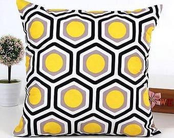 Beautiful Black Yellow Gray and White Geometric Pillow Cover 18 x 18