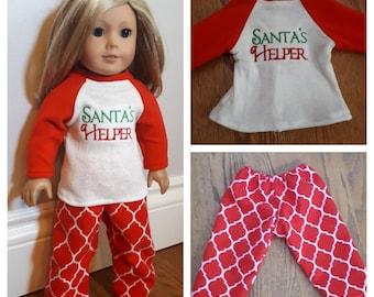 "18"" doll clothes- Santa's Helper 2 piece doll Pajama set. Christmas doll pajamas"