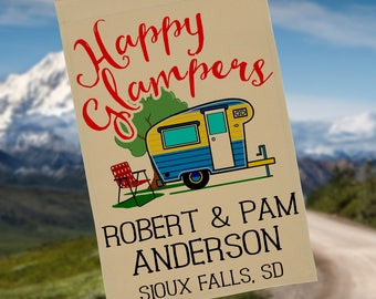 Happy Glampers, Personalized Camping Flag or Wall Hanging, Camp Sign, Campsite Decor, Vintage Trailer Decor, Flag Stand NOT Included EYF-024
