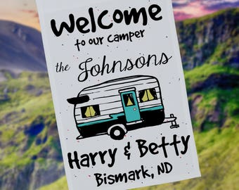 Welcome to our Camper Personalized Garden Flag or Wall Hanging, RV Gift, Vintage RV Decor Personalized Yard Flag, Stand Not Included