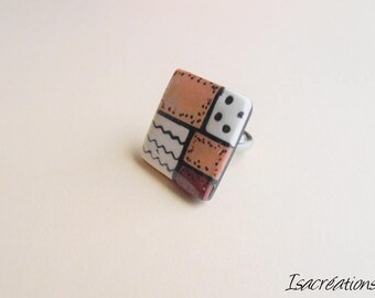 square ring Brown copper and black