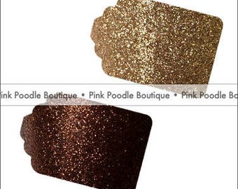 Glitter GIFT/FAVOR TAGS (12 pc) -- Bronze/Brown