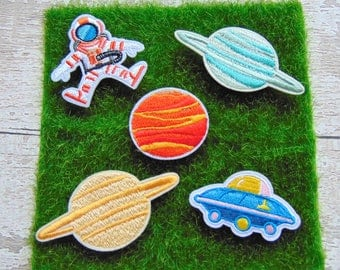 Space Theme Iron on Embroidered Patch Planets Astronaut Saturn Flying Saucer Sew on Galaxy Custom Decoration for Clothing Bags Jackets UK