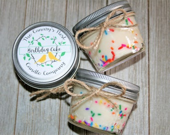 Birthday Cake Scented Soy Candle/Birthday Cake Candle/Mason Jar Candle/Mason Jar Birthday Cake Candle/Funfetti Candles/Birthday Gift Candles