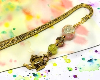 Golden teapot bookmark - Book lover gift - Gift for aunt - Metal hook bookmark - Unique beaded bookmark for books - Positive book mark