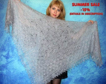Hand knit shawl,embroidered shawl,gray shawl,lace shawl,russian shawl,goat down shawl,warm wrap,wool stole,square cover up,handmade kerchief