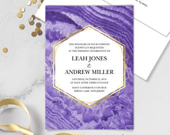 Ultraviolet Wedding Invitation / Purple Gemstone, Violet Marble, Agate, Purple & Gold Geometric ▷Printed Invitations {or} Printable