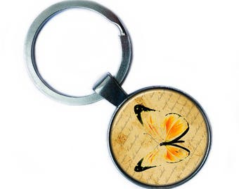 Yellow Butterfly Keychain Keyring