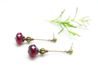 Stud Earrings ~ Burgundy highlights.