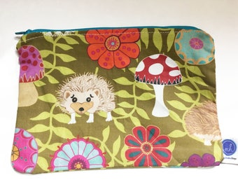 Hedgehog In My Garden Zipper Pouch with Floral Print Purple Liner