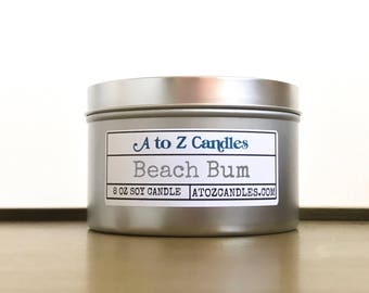 Summer Candle, Summer Gift, Beach Candle, Sunscreen Scented Candle, Soy Candles, Beach Bum Candle, Ocean Candle, Floral Candle, Tin Candles