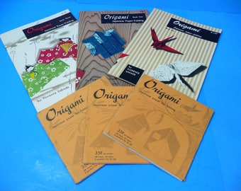 Vintage Origami Japanese Paper-Folding Instruction Books w/3 Origami Paper Packs