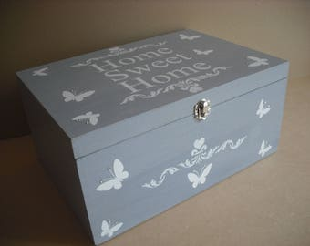 Home Sweet Home....French style and rustic memory/storage box. Extra large,and wooden, makes a lovely addition to any home.....