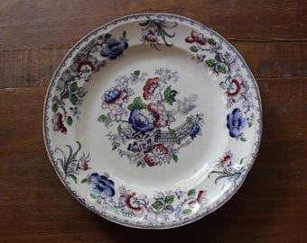 Vintage TJ & J Mayer Flower Vase Dinner Plate Transferware Stoneware c1850s