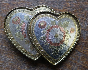 Vintage Double Heart Floral Country Western Belt Buckle Made in USA