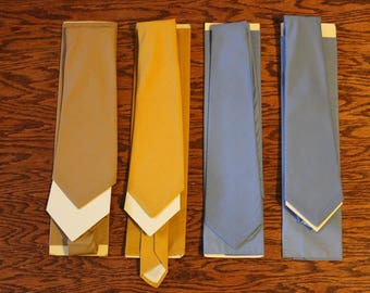 Vintage Lot of 4 1970s ARROW Men's Ties and Matching Handkerchiefs Decton USA