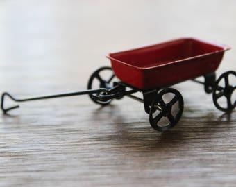 Vintage Miniature Dollhouse FAIRY GARDEN Accessories Tiny Red Wagon