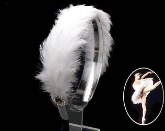 White Swan Feathers Headpiece,Rhinestone Ballet Headpiece,Swan feathers costume headpiece,Feathers headpiece-F24