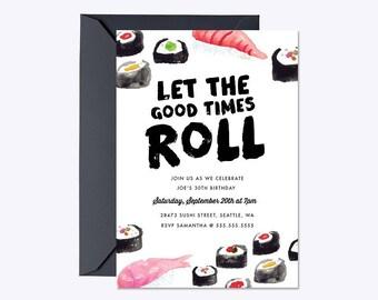 SUSHI BIRTHDAY Invitation, Sushi Party, Sushi Birthday, Sushi Party Invitation, Sushi Birthday Party, Sushi Invite
