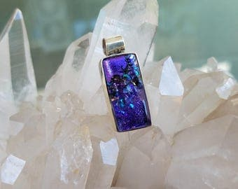 Purple Dichroic Glass Sterling Pendant Violet