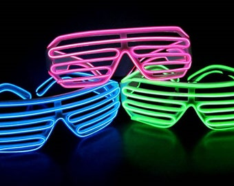 Sound Activated EL Shutter Glow Shades - 3-Mode, Black or White Frame, Sound Activated El Wire Sunglasses. LED Shutter Shades for parties!