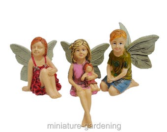 Little Trio Fairies, 3 Piece Set for Miniature Garden, Fairy Garden