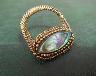Vintage Abalone Shell Brooch. Gold Tone Brooch. Handbag Shaped Brooch