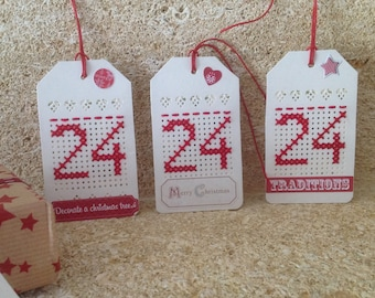 Set of 3 embroidered Christmas tags labels Figure 24 Red