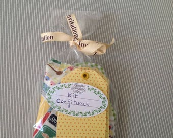 Vintage style jam Kit. To embellish your jars of homemade jams. Set 2.