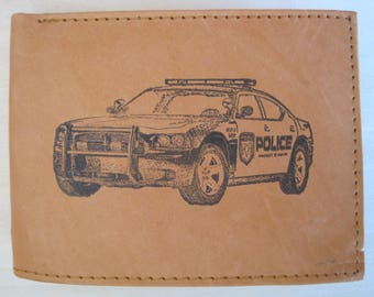 "Mankind Wallets Men's Leather RFID Blocking Billfold with ""Police Patrol/ Pursuit Car"" Image~Makes a Great Gift!"
