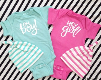 OH Boy AND HEY Girl One pieces {set of 2} {Newborn Size}