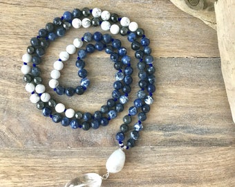 Sodalite, Howlite and Hematite Mala Beads Necklace, 108 Meditation Beads, Japa Mala, Meditation Gifts, Unisex Mala, Yoga Jewelry